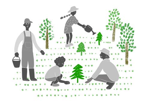 大人と子供が木を植えているイラスト