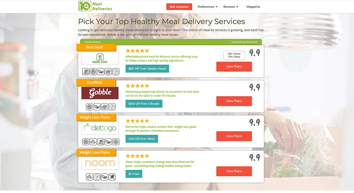 Best10Index is proud to announce that it is now launching a new meal delivery service. It will offer unbiased and honest reviews so customers can make informed decisions as to what the best service is for them.