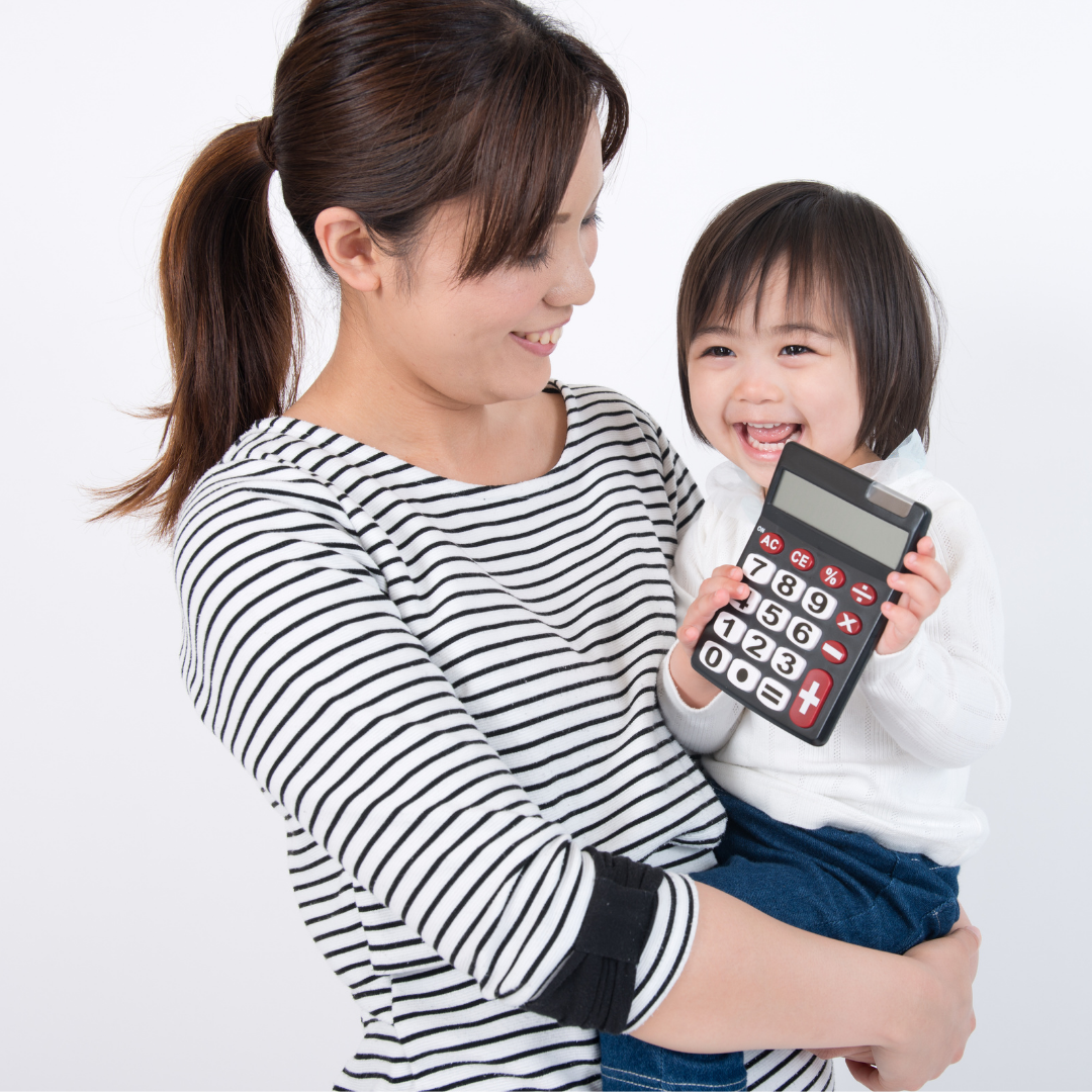 Mum and child with calculator practicing frugality
