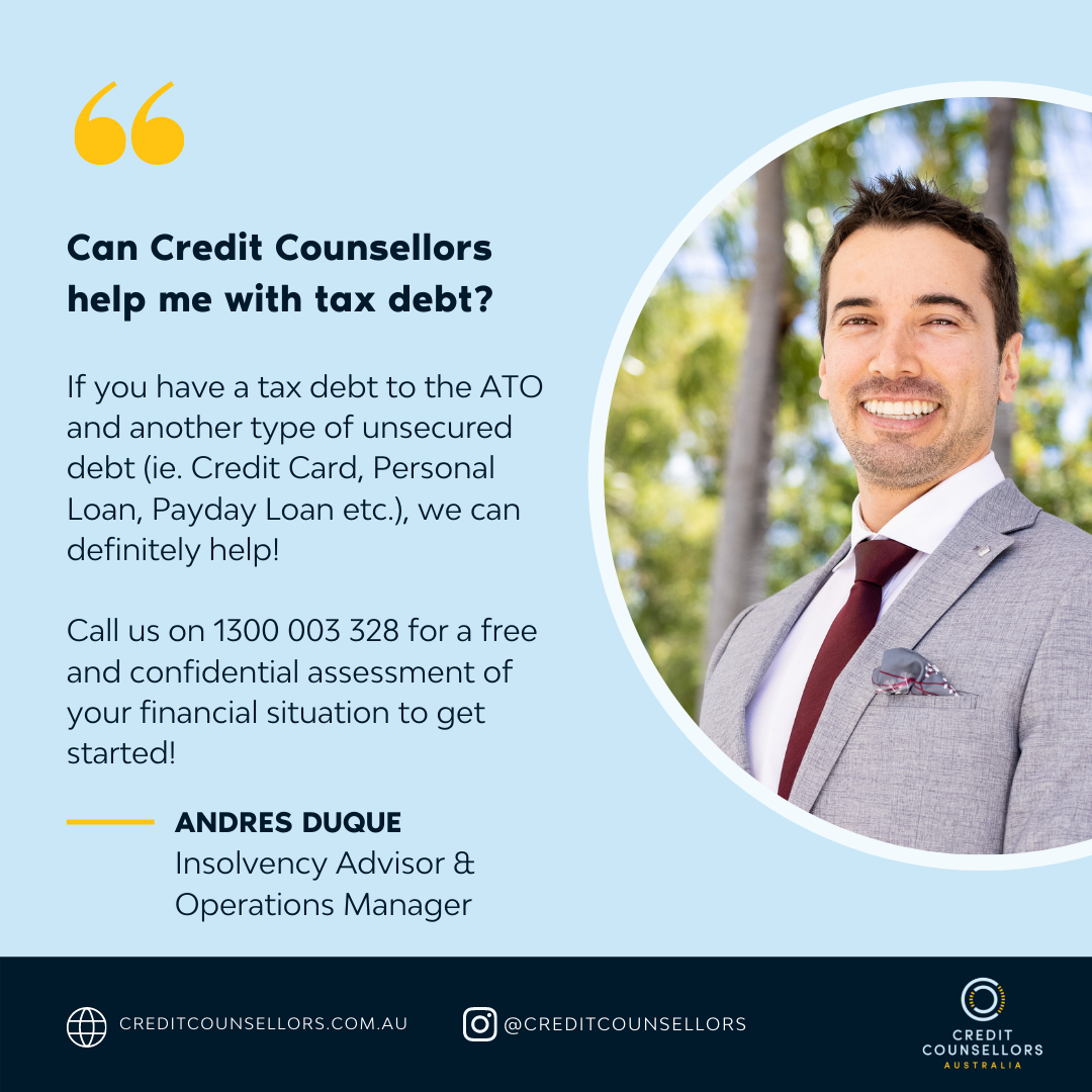 Andres Duque from Credit Counsellors can help with tax debt Australia ATO