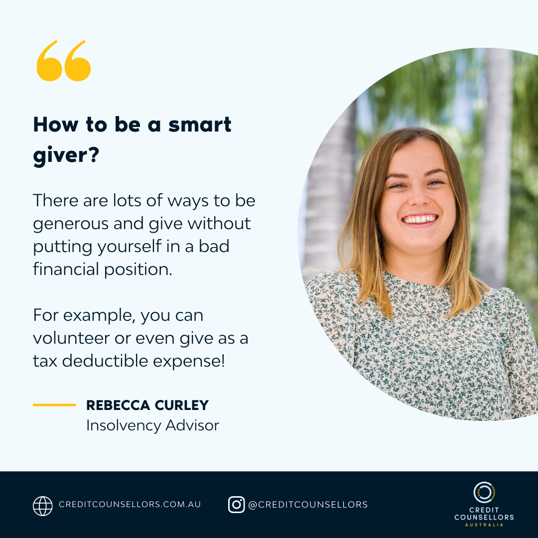 Insolvency Advisor Rebecca Curley explains how to be a smart giver and donate money