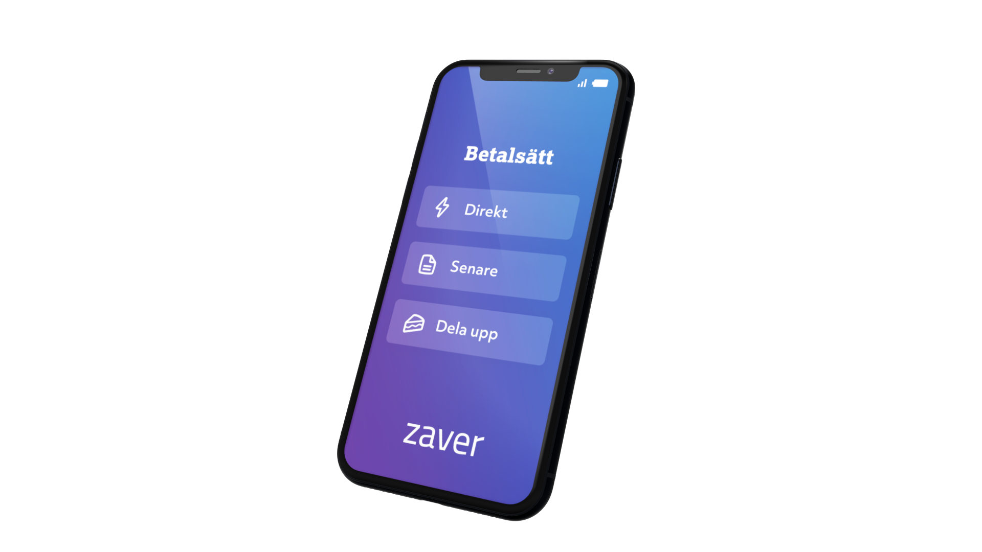 A mobile phone that shows different payment methods that Zaver offers.