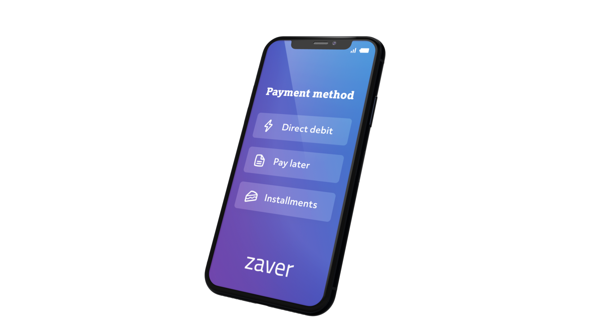 A mobile device showing Zaver's different payment methods.