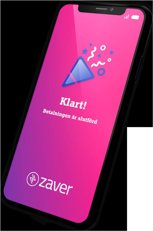 Mobil som visar Zaver betallänk - Avslutad betalning