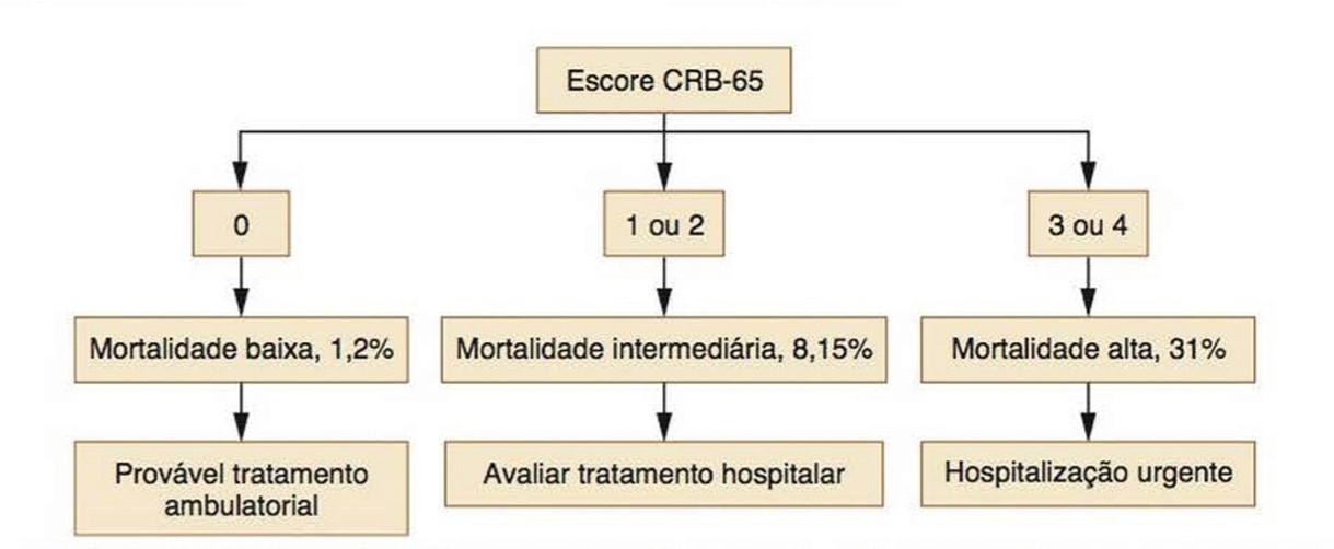 Fluxograma 1: O score CRB-65 é representado pelos critérios: C = confusão mental; R = frequência respiratória maior ou igual a 30 irpm; B = pressão arterial sistólica <90 mmHg ou diastólica menor ou igual a 60 mmHg; 65 = idade maior ou igual a 65 anos. A depender da quantidade de critérios que o paciente se encaixe, o risco de morte e o encaminhamento do paciente será avaliado. Fonte: PORTO, Semiologia Médica 2017