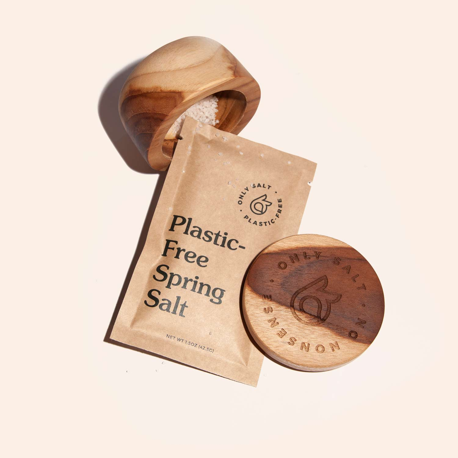 Spring salt packet by Only Salt with a wooden pinch bowl.