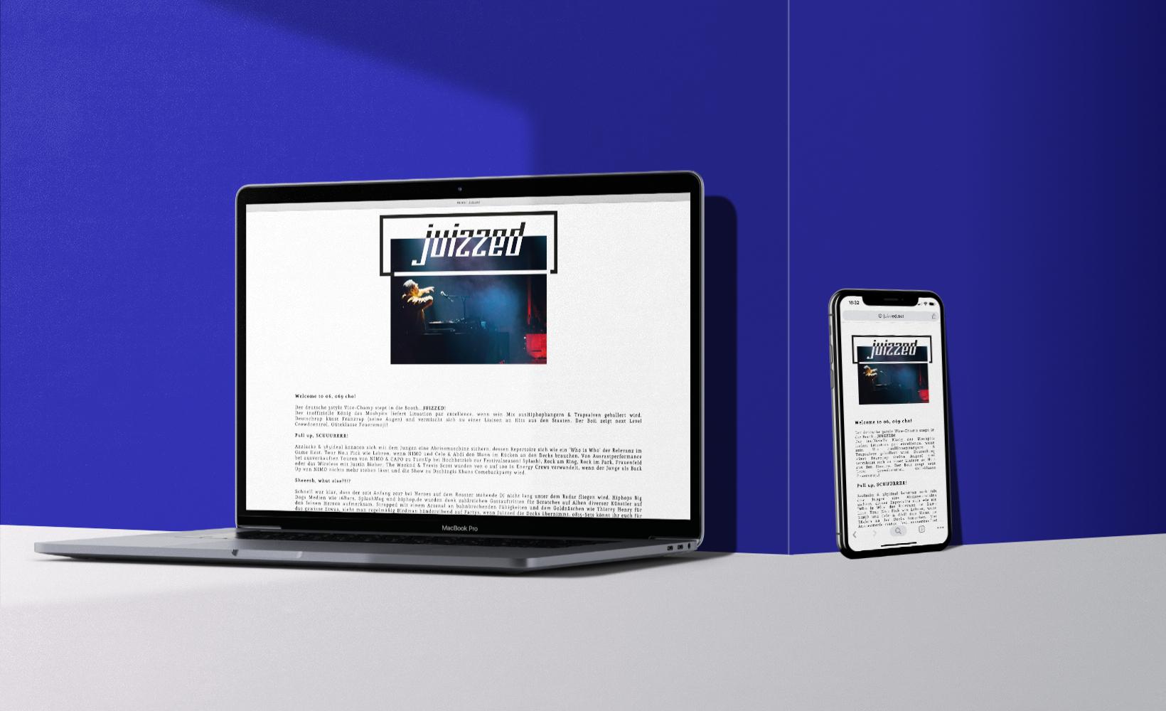 Juizzed Webdesign auf MacBook und iPhone