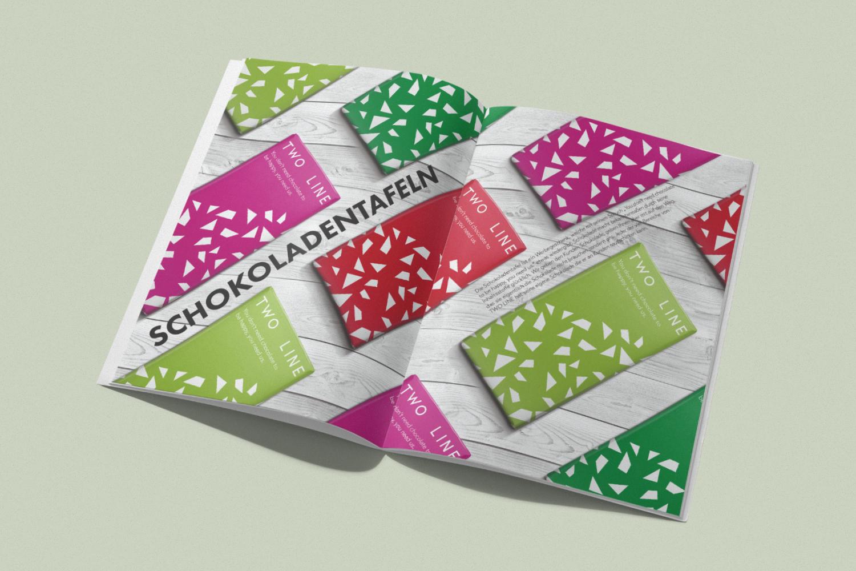 Produktdesign in Form von Schokoladentafeln zur Darstellung