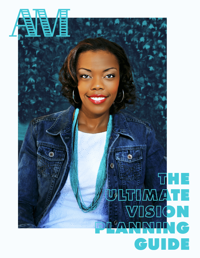The Ultimate Vision Planning Guide Cover Art featuring a photo of Arianne Mockabee in a White Dress and Jean Jacket and the title.