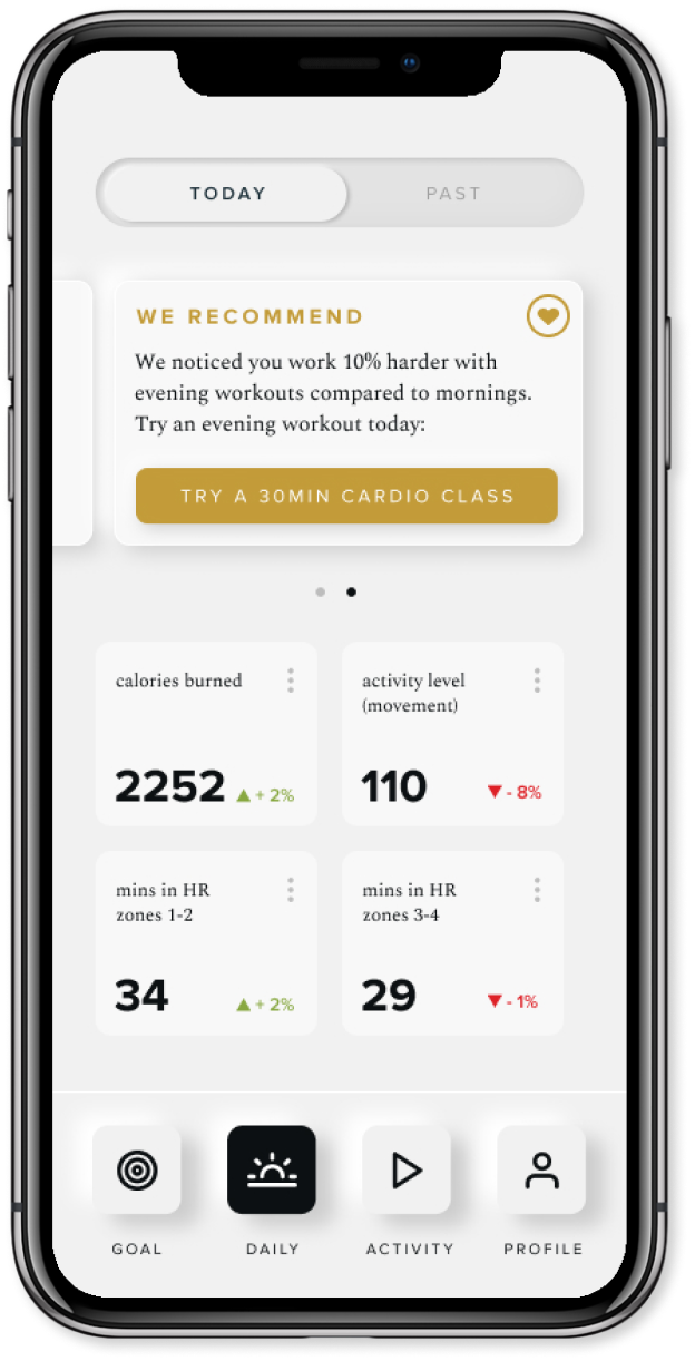 Point App Daily Metrics Screen