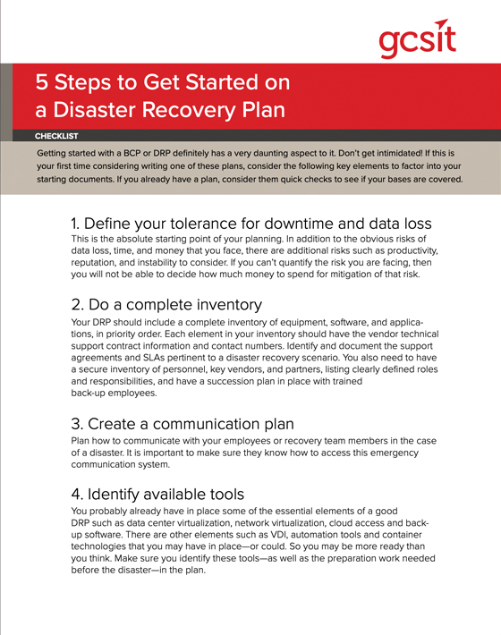 5 Steps to Get Started on a Disaster Recovery Plan