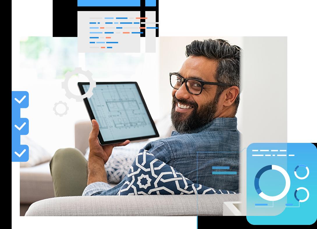 Man viewing JobAccelerator Platform on a tablet