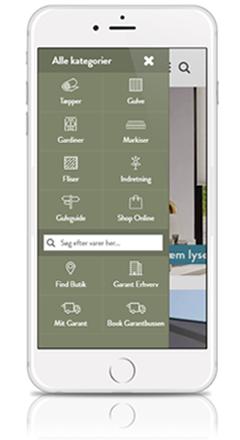 brugergrænseflade på mobil webshop