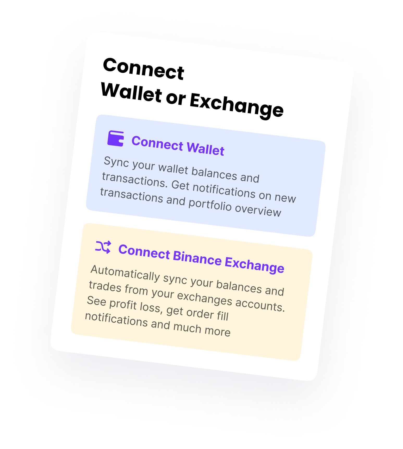 Wallet connection mockup