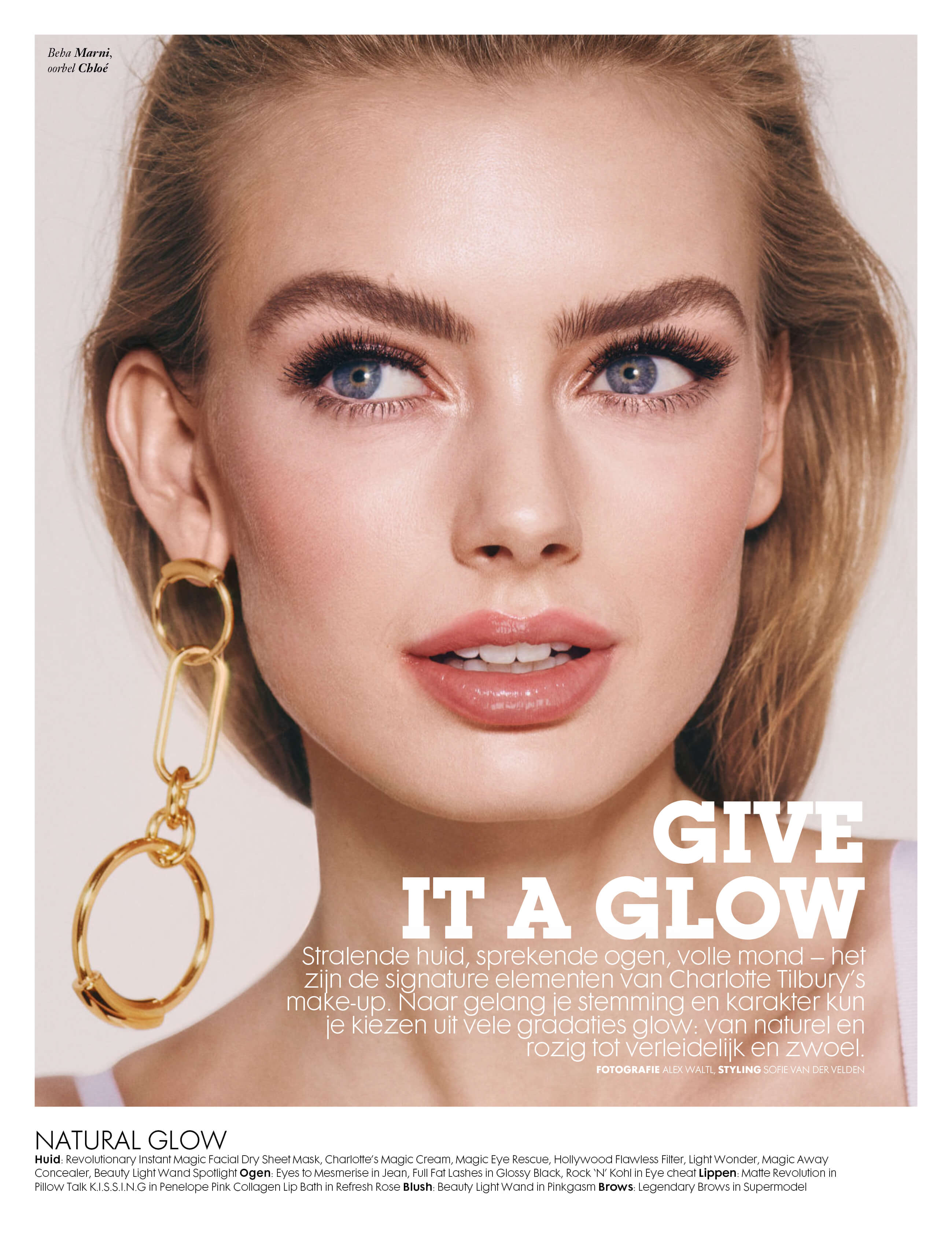 Page of Vogue NL showing Charlotte Tilbury by Alex Waltl