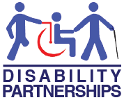 Disability Partnerships Logo in Blue and Red