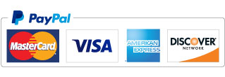 Picture of payment methods accepted through PayPal including Visa, Mastercard, American Express, Discover.