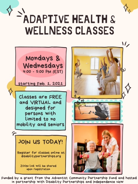 A flyer for our adaptive wellness class.
