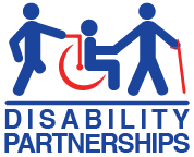 Picture of the Disability Partnerships Logo in Blue and Red