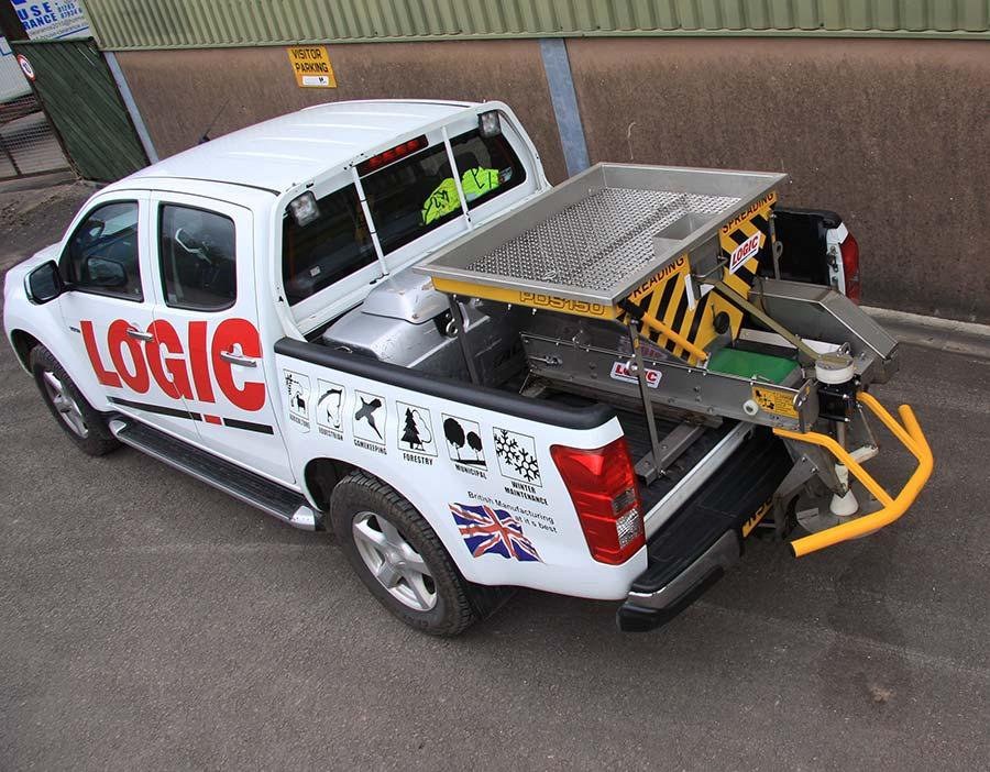 Deck Mount Powered Salt Spreader PDS354D on Logic pickup