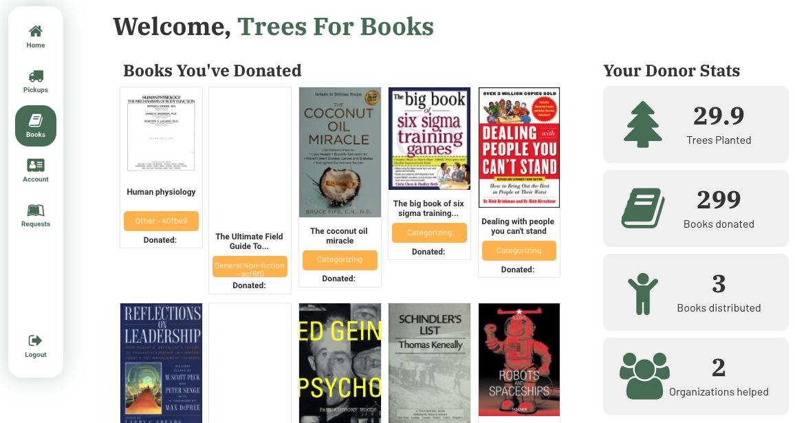 Trees For Books Donator Dashboard Books