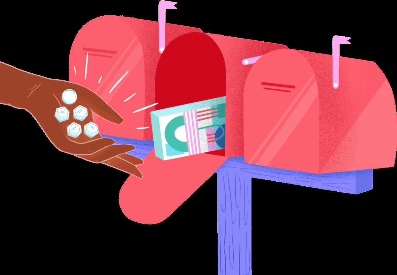 hand putting pills into mailbox