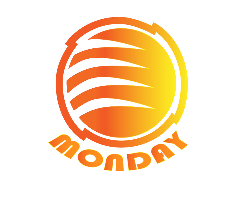 Monday is an example dummy name for this logo design project, it illustrates a sphere with different line cuts inside and a wrapper stroke around it.