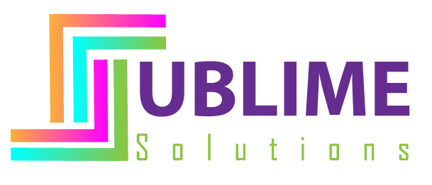 Sublime Solutions is a professional logo in different colors, it has a Z shape formed with 2 squares cut by half foloowed by some text