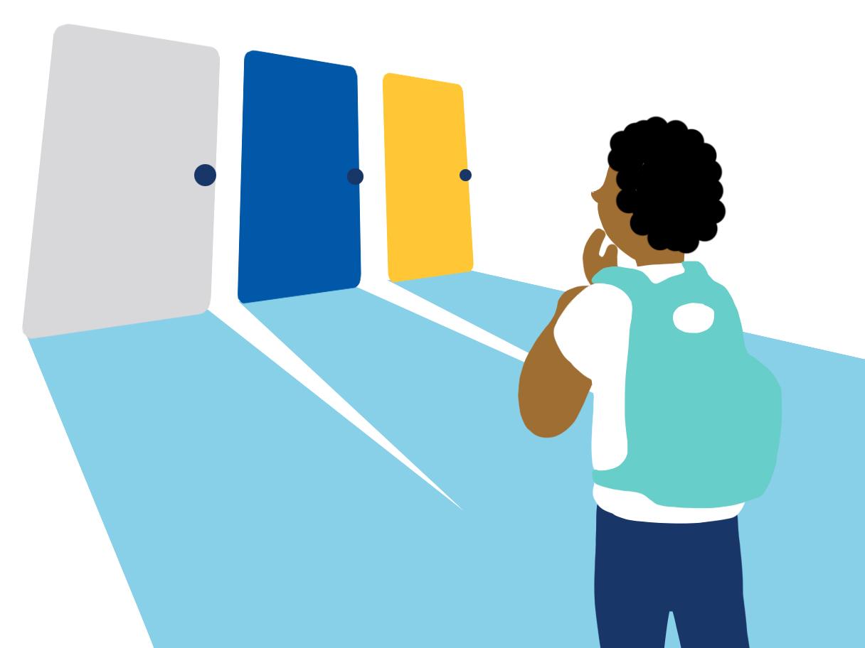 A cartoon of a young person choosing between 3 doors