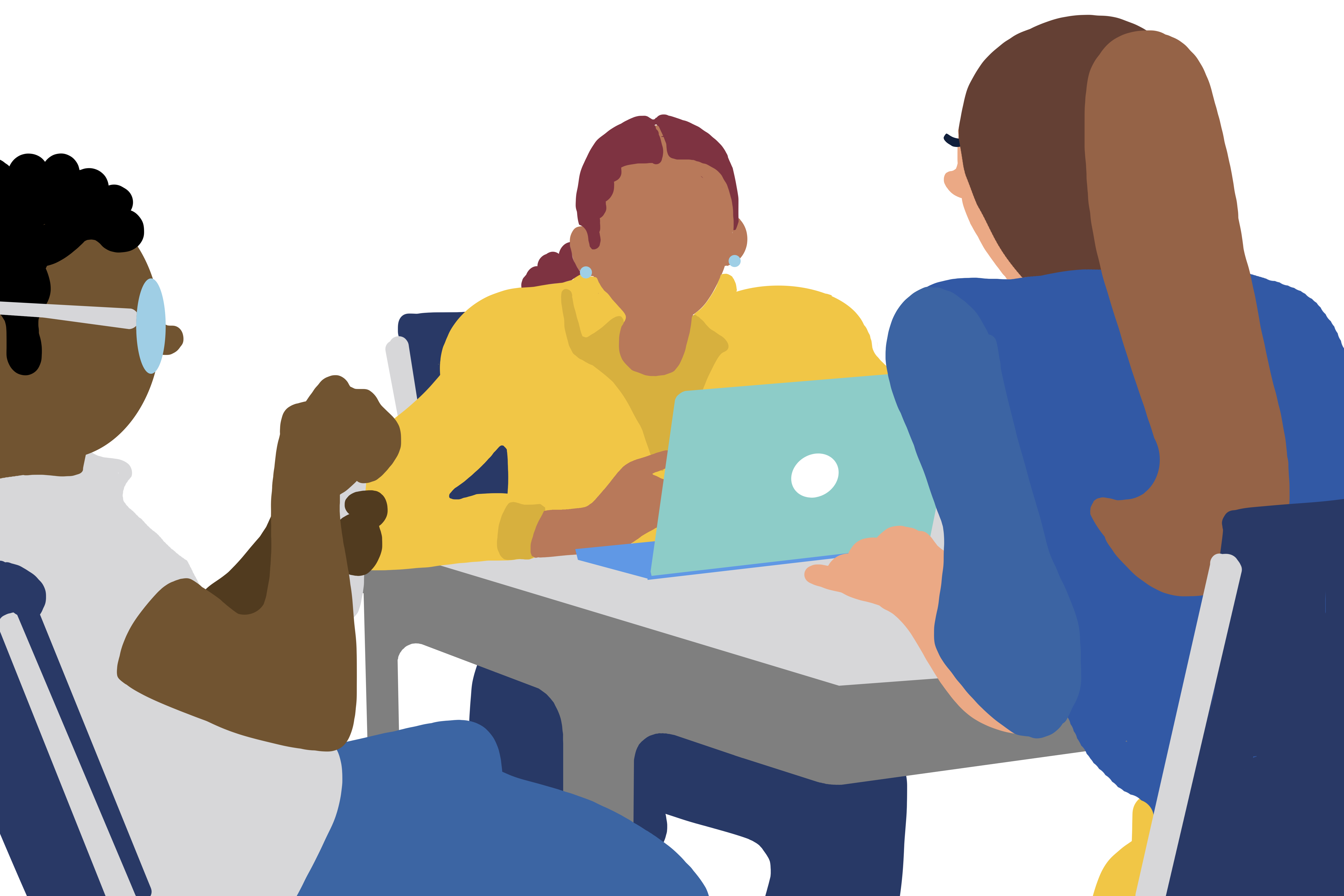 Animated girl at laptop with others