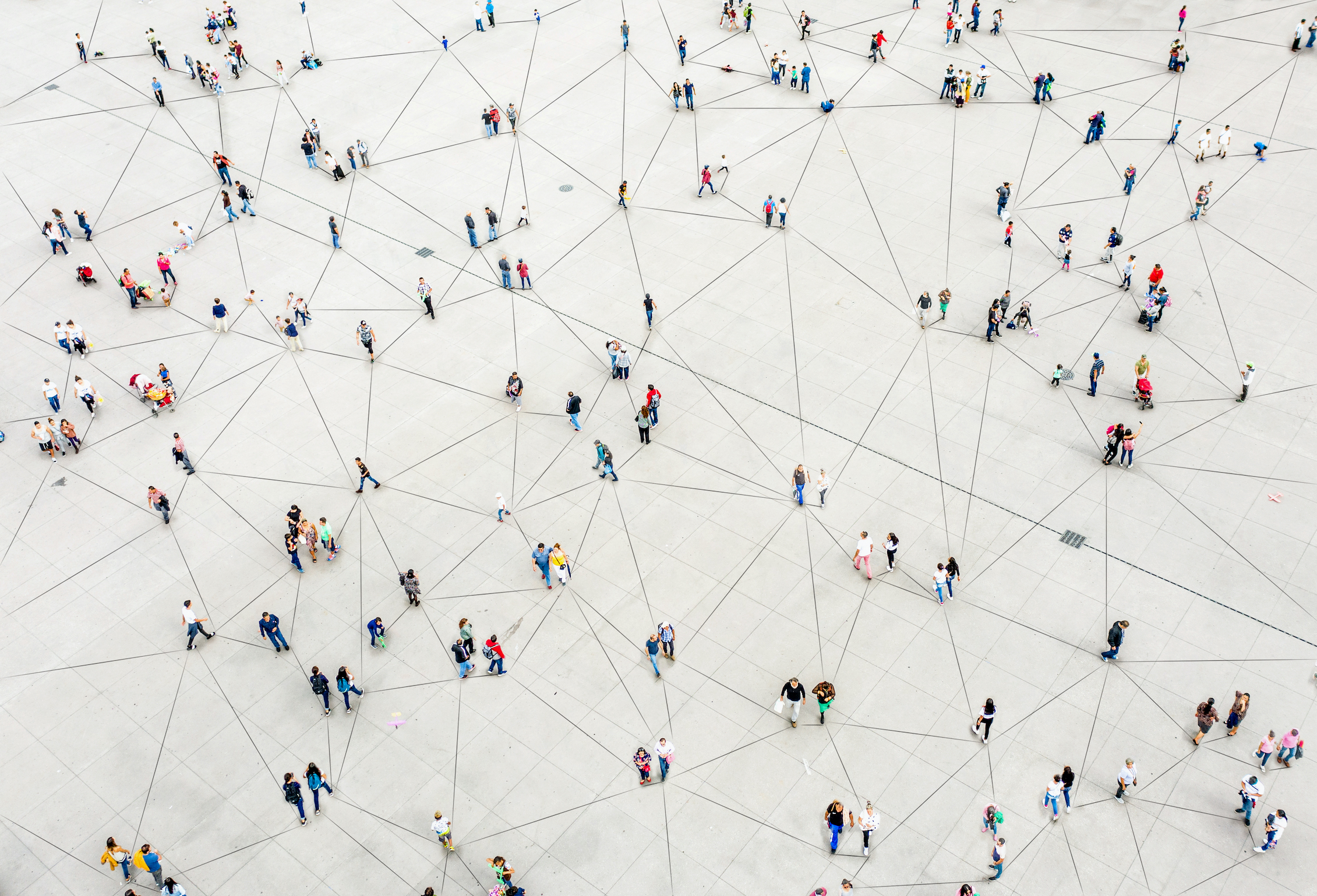 an artistic rendered image of groups of people connected by a network