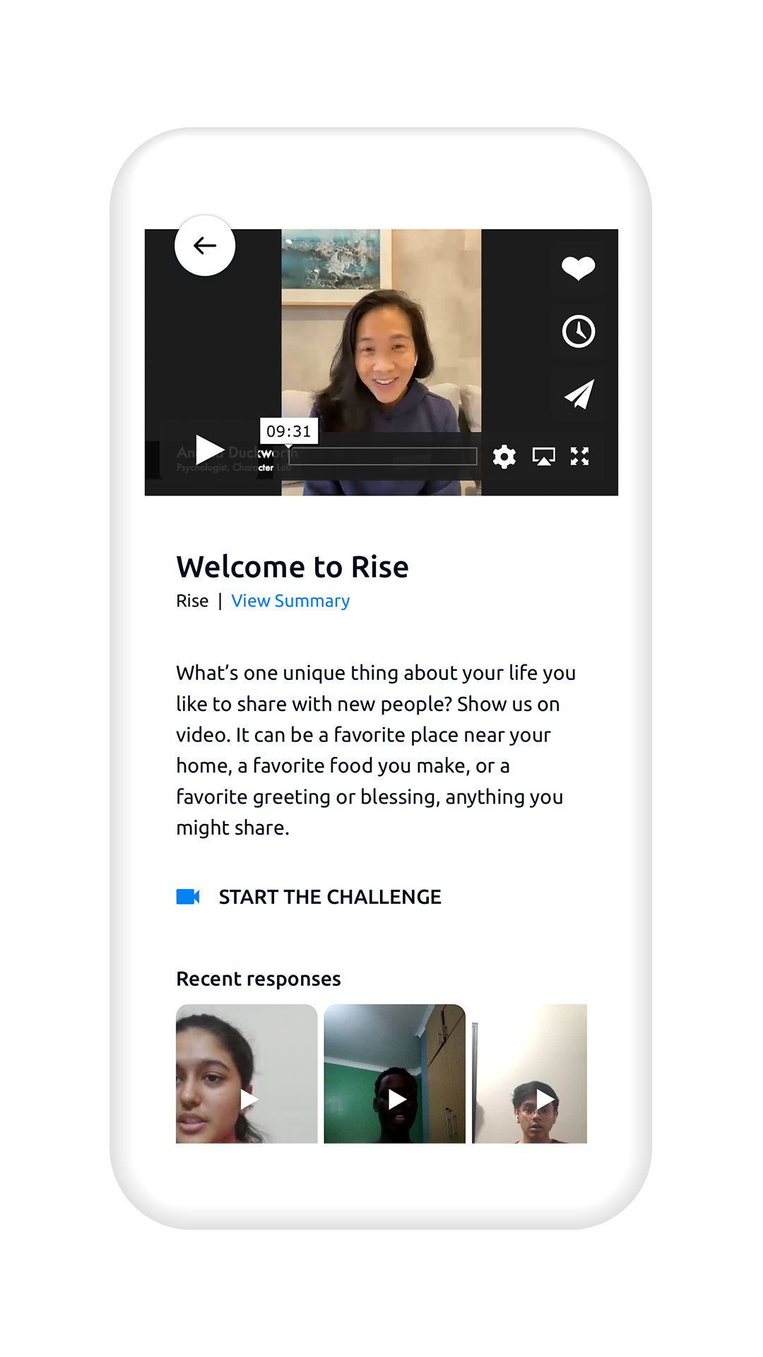 Smartphone showing the welcome to Rise page