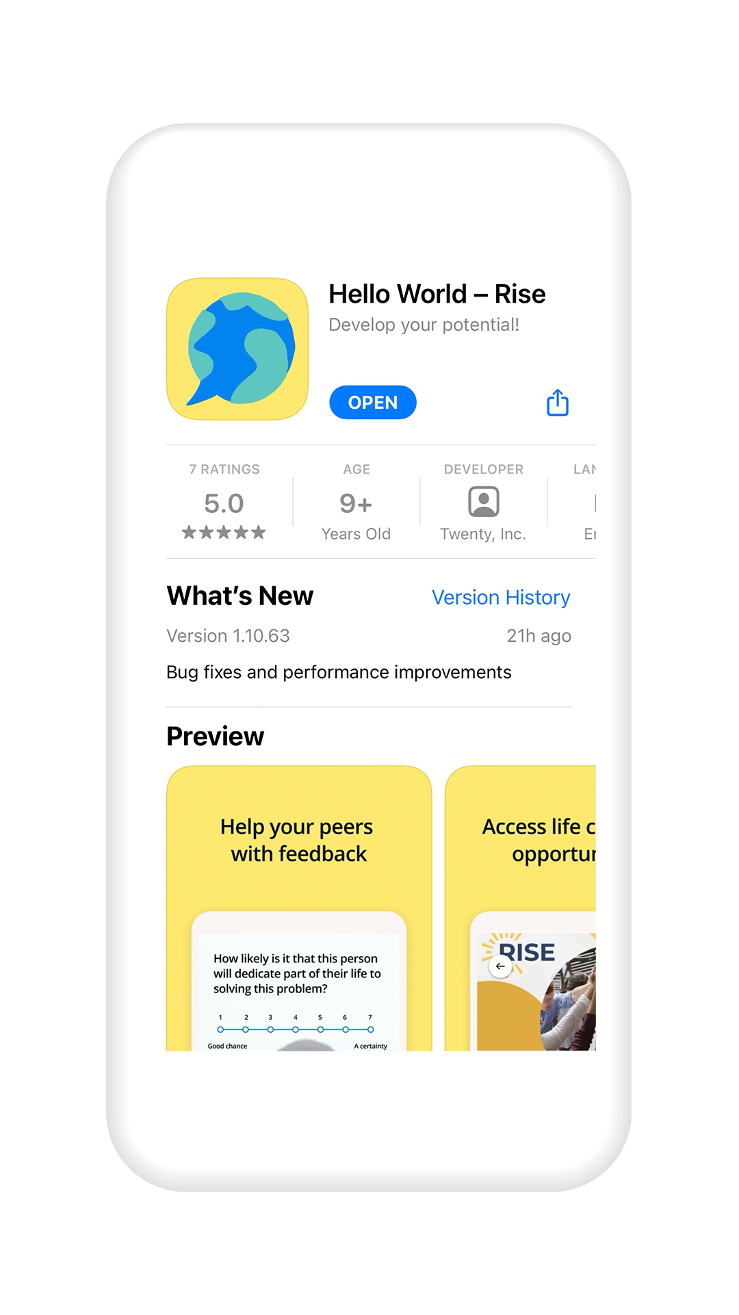 Smartphone with Hello World page in app store