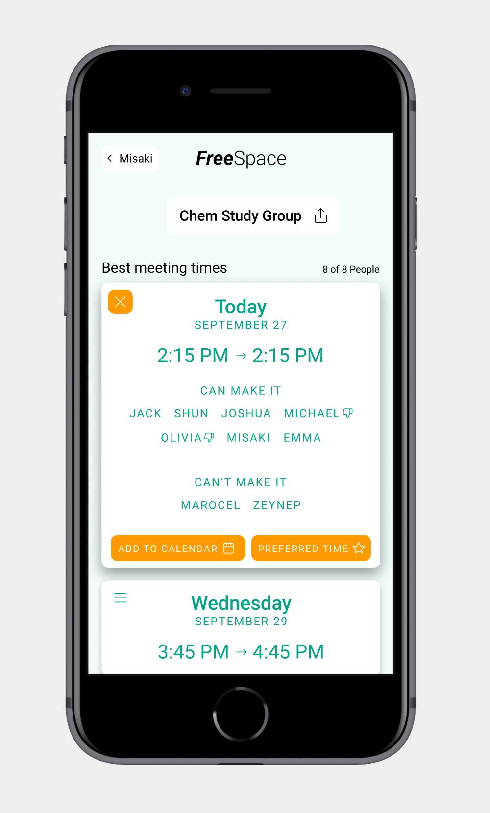 Phone displaying scheduling web-app