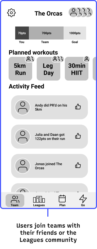 User interface mockup of fitness app showing users can join teams with their friends