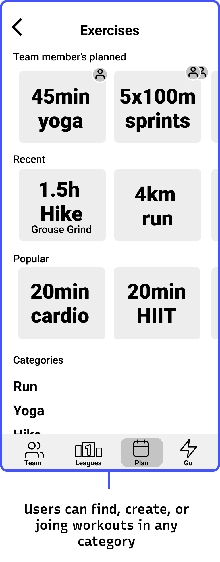 User interface of fitness app showing that users can create and join workouts in any category of exercise