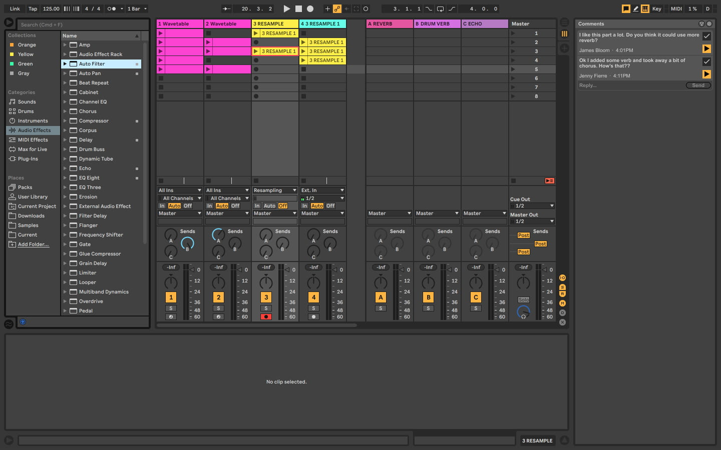 User interface of Ableton Live with potential collaborative features