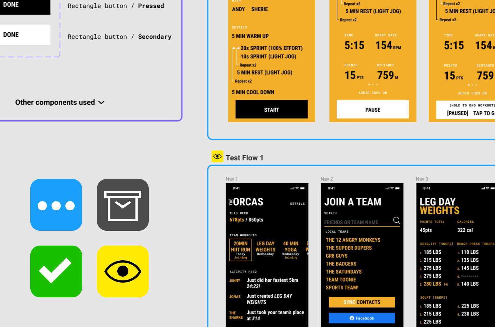 Zoomed in view of user interface (Figma) with icons and phone mockups