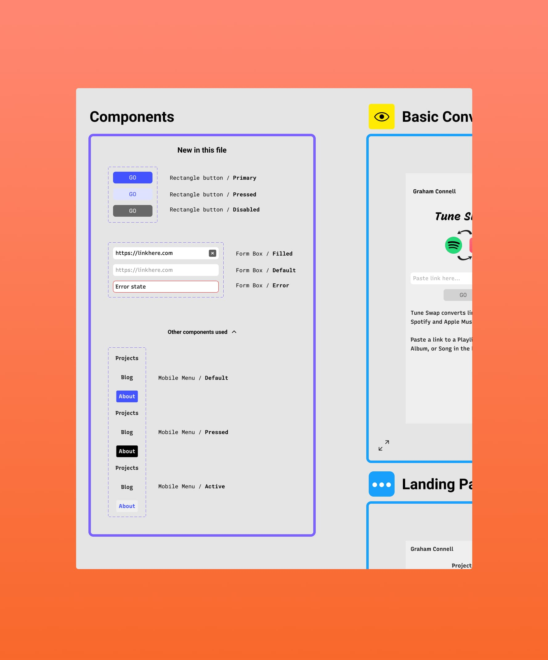 zoomed in user interface of a components section within Figma