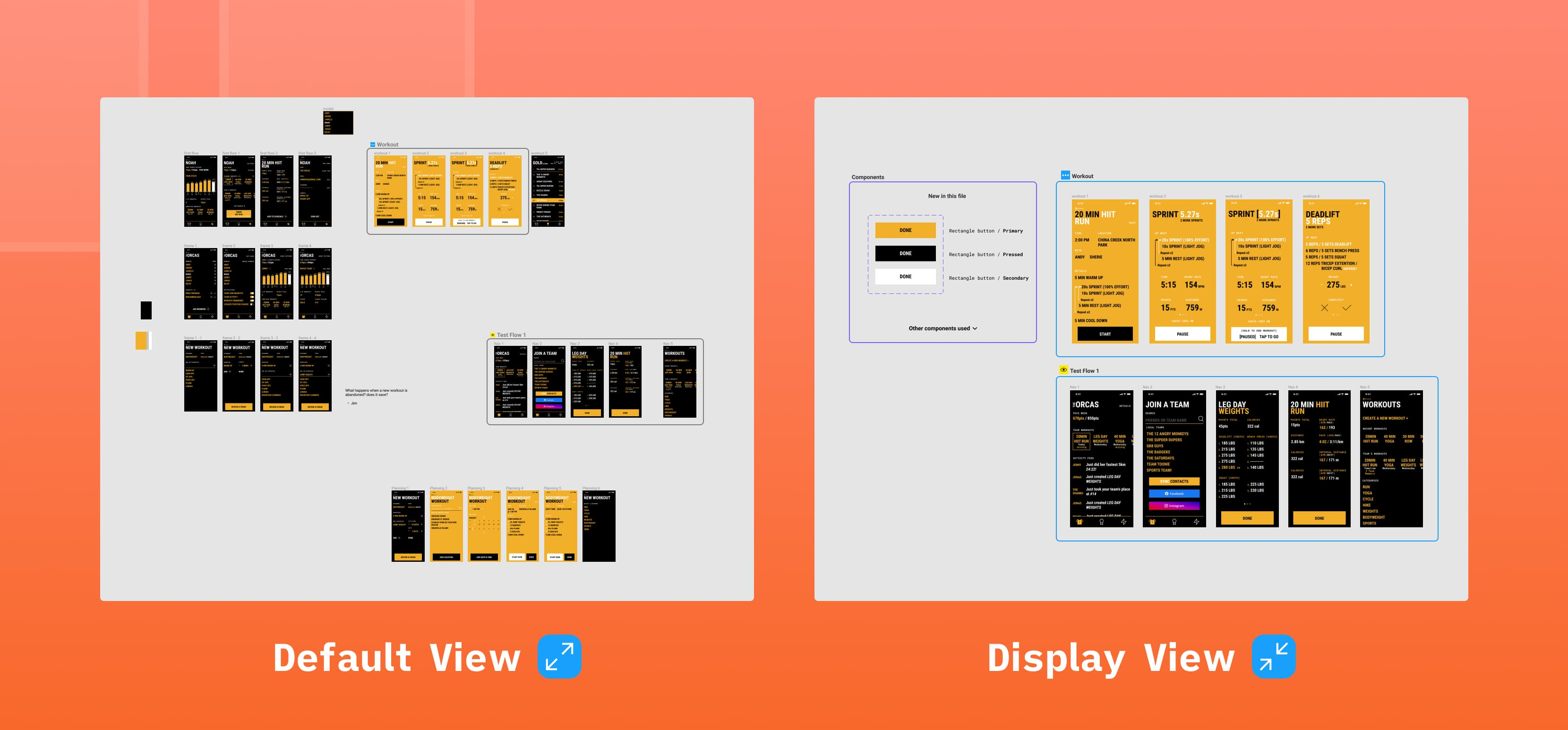 Comparing Figma's default canvas view with a proposed display view which hides unnecessary frames