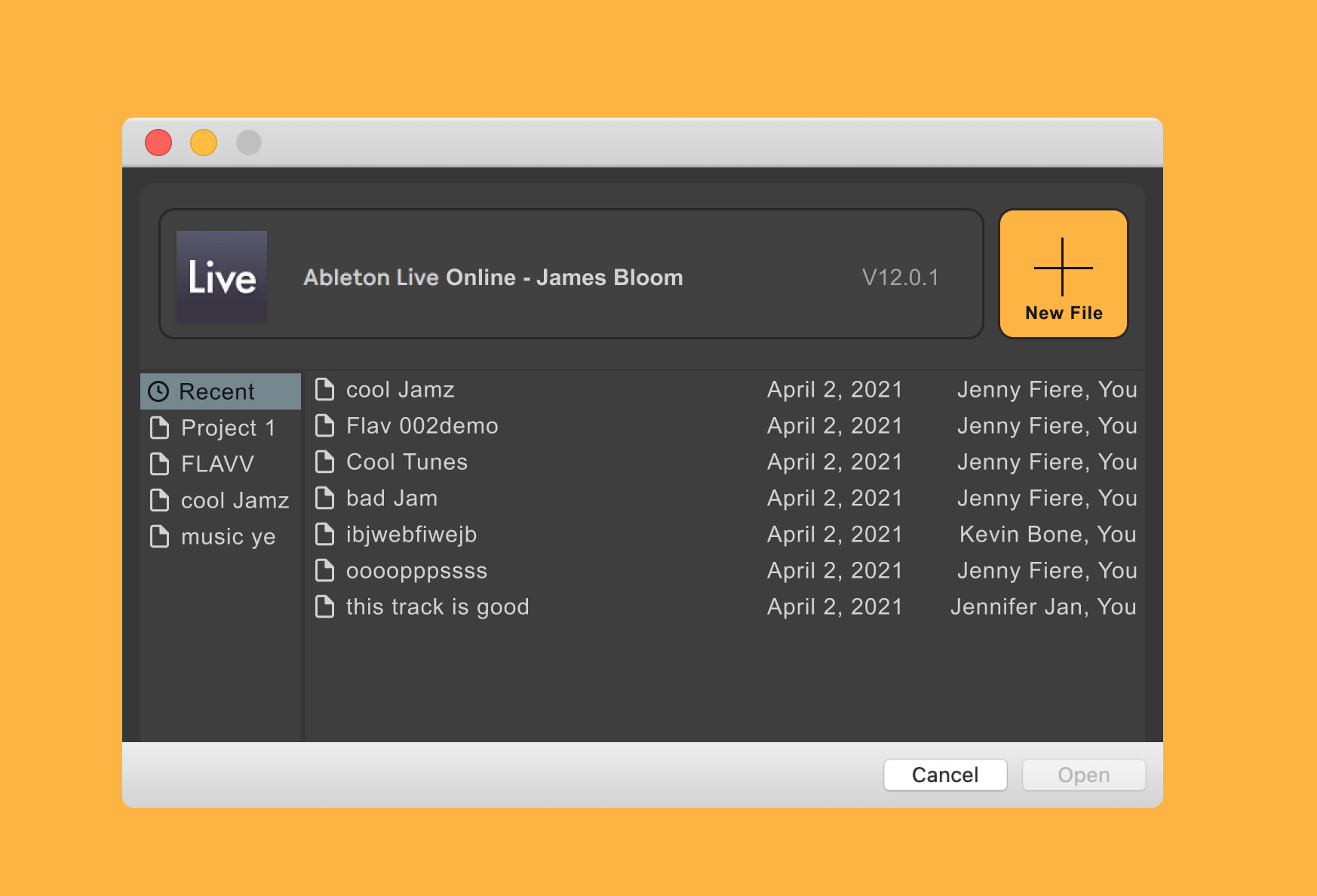 launch screen for Ableton Live