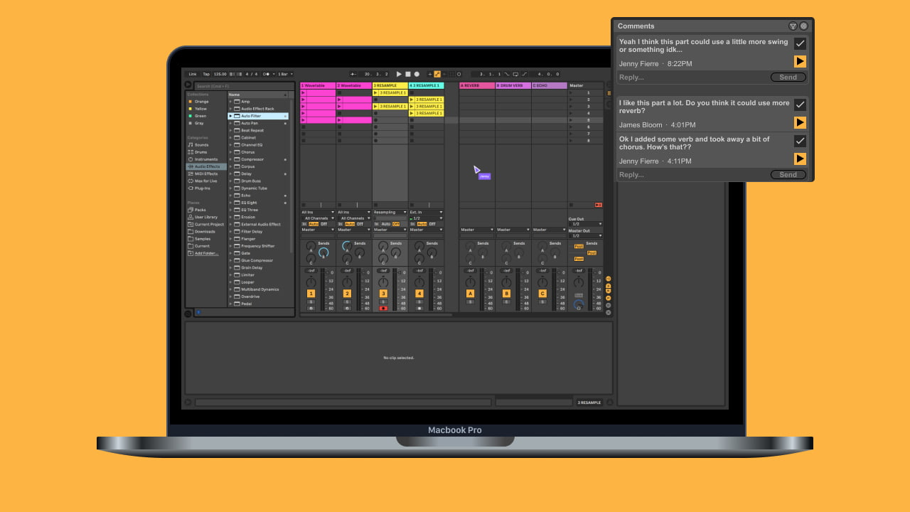 Laptop displaying Ableton Live with collaborative feature like comments and live cursors