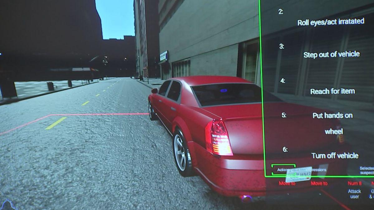 Traffic Stop in Police Virtual Reality Training Simulator
