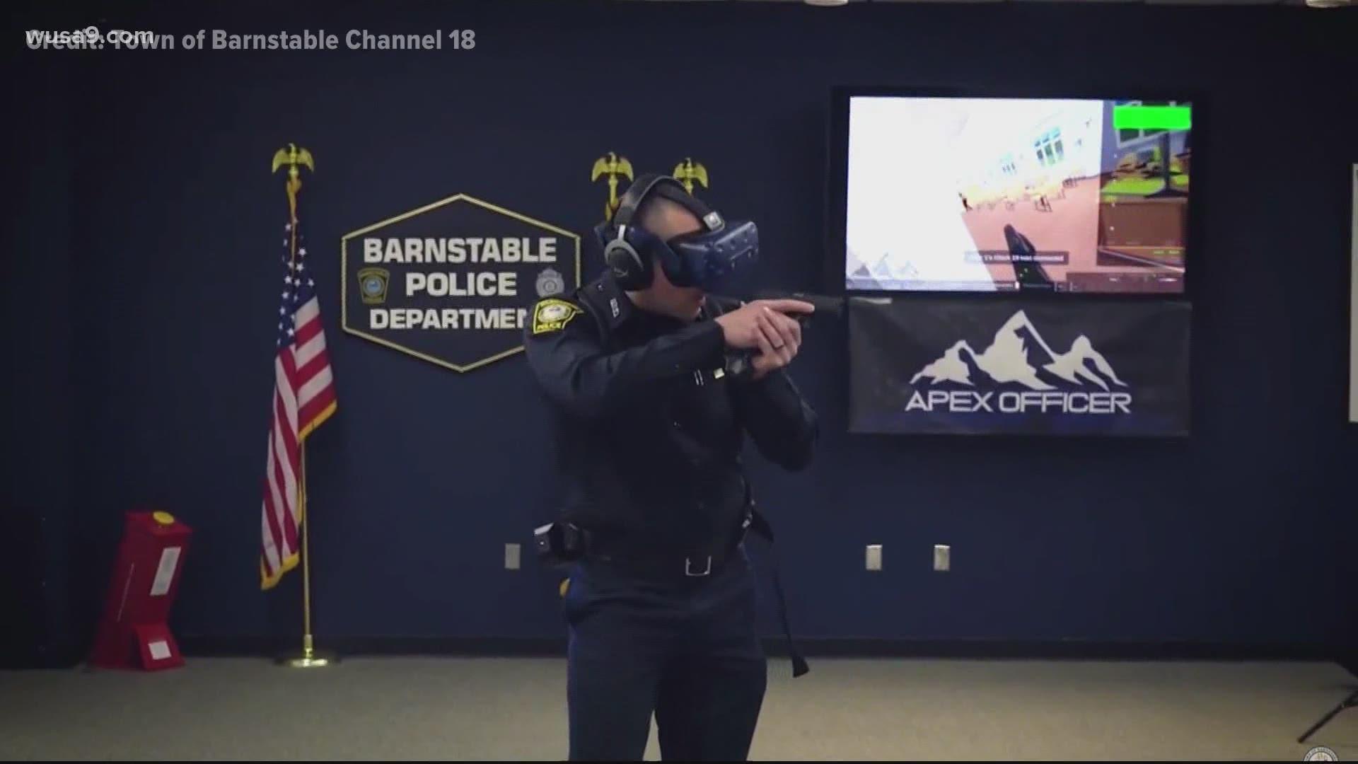 Barnstable Police Officer using Apex Officer VRTraining Simulator