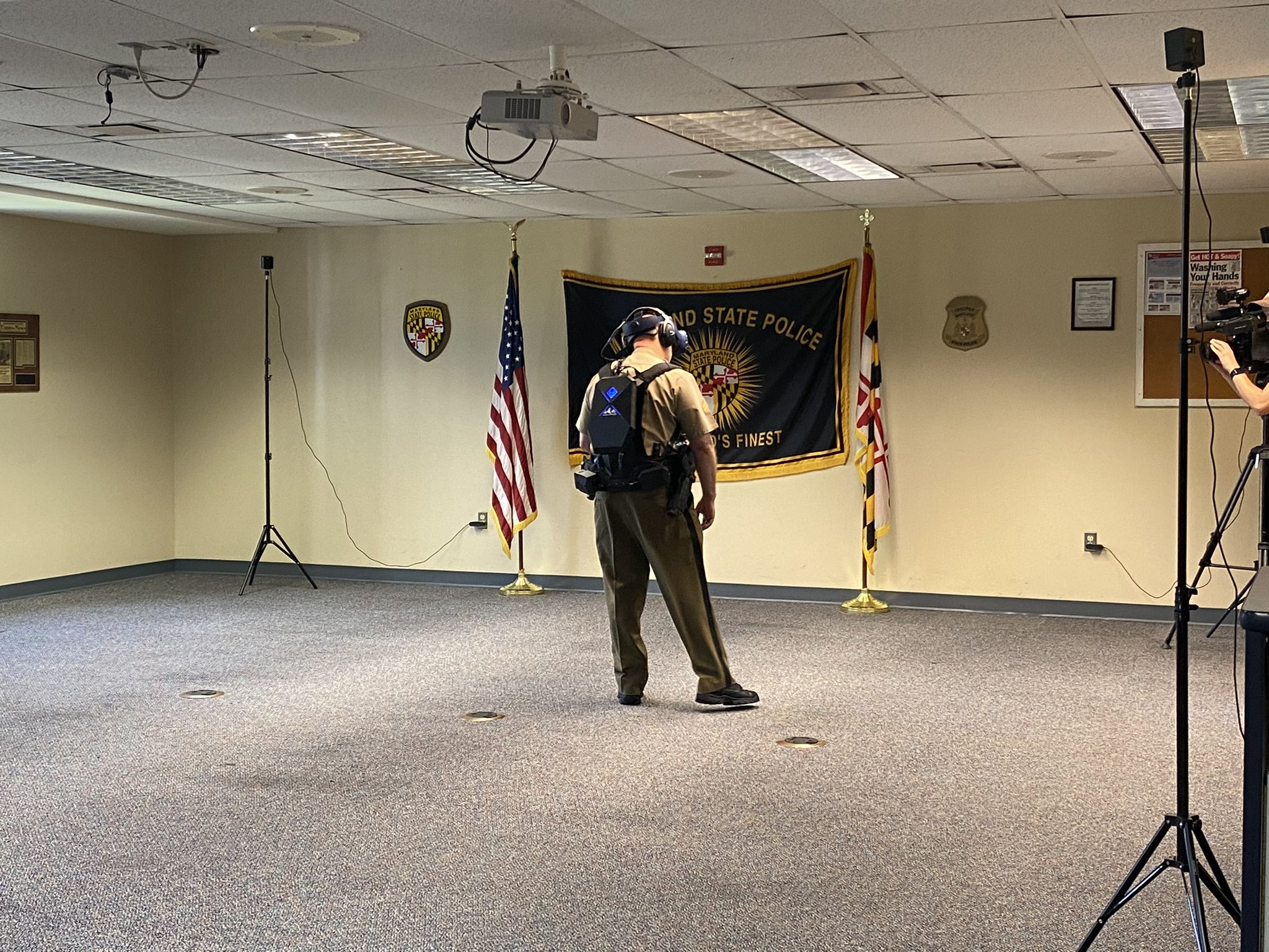 Maryland State Police Trooper Demonstrating the Apex Officer VR Training Simulator