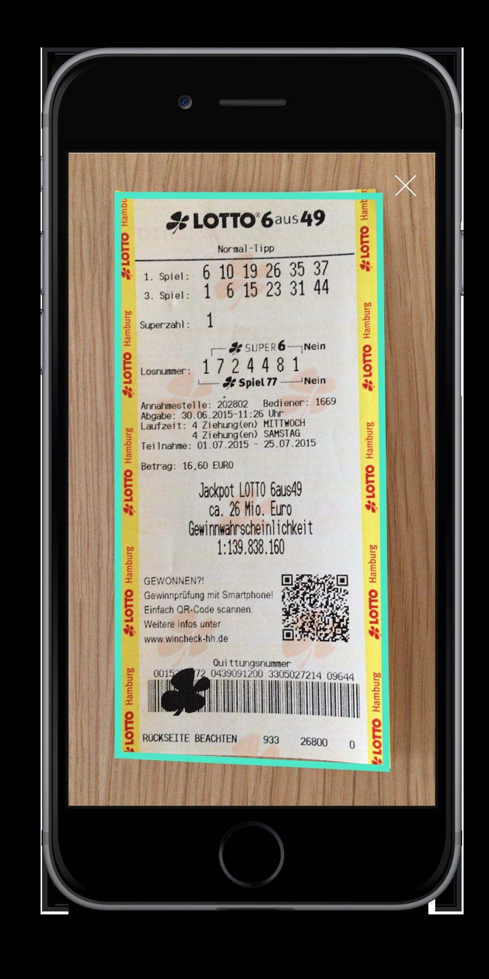 Lotto Scanner - automatische Erkennung der Lotto-Quittung