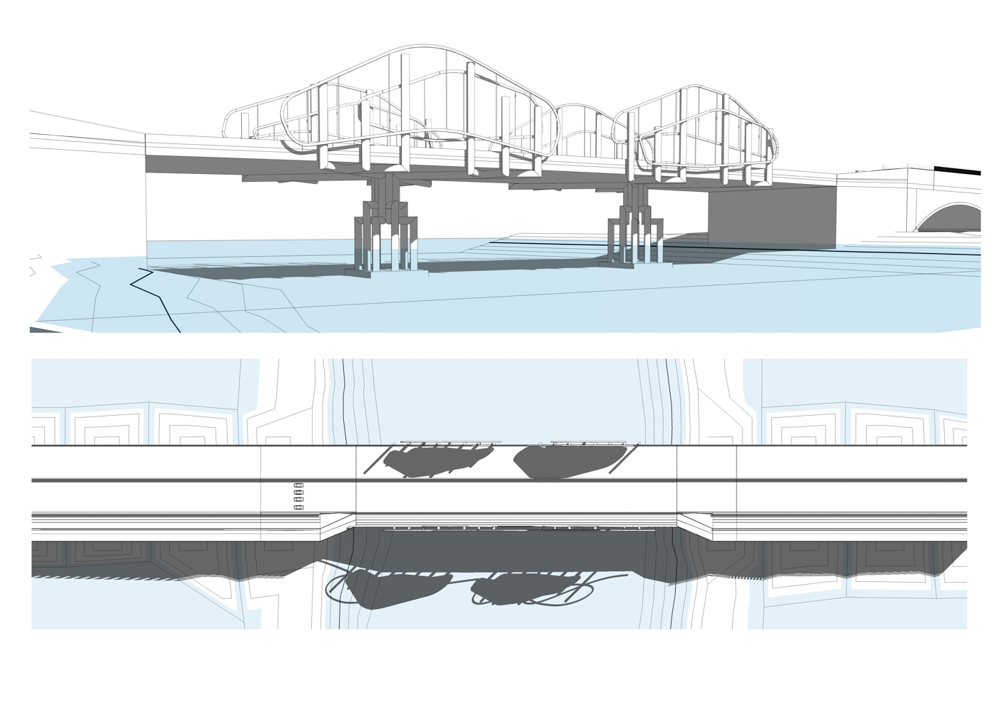 Concept 5: A truss-type bridge consisting of two braced bowstring arches, also inspired by the mangrove forest.