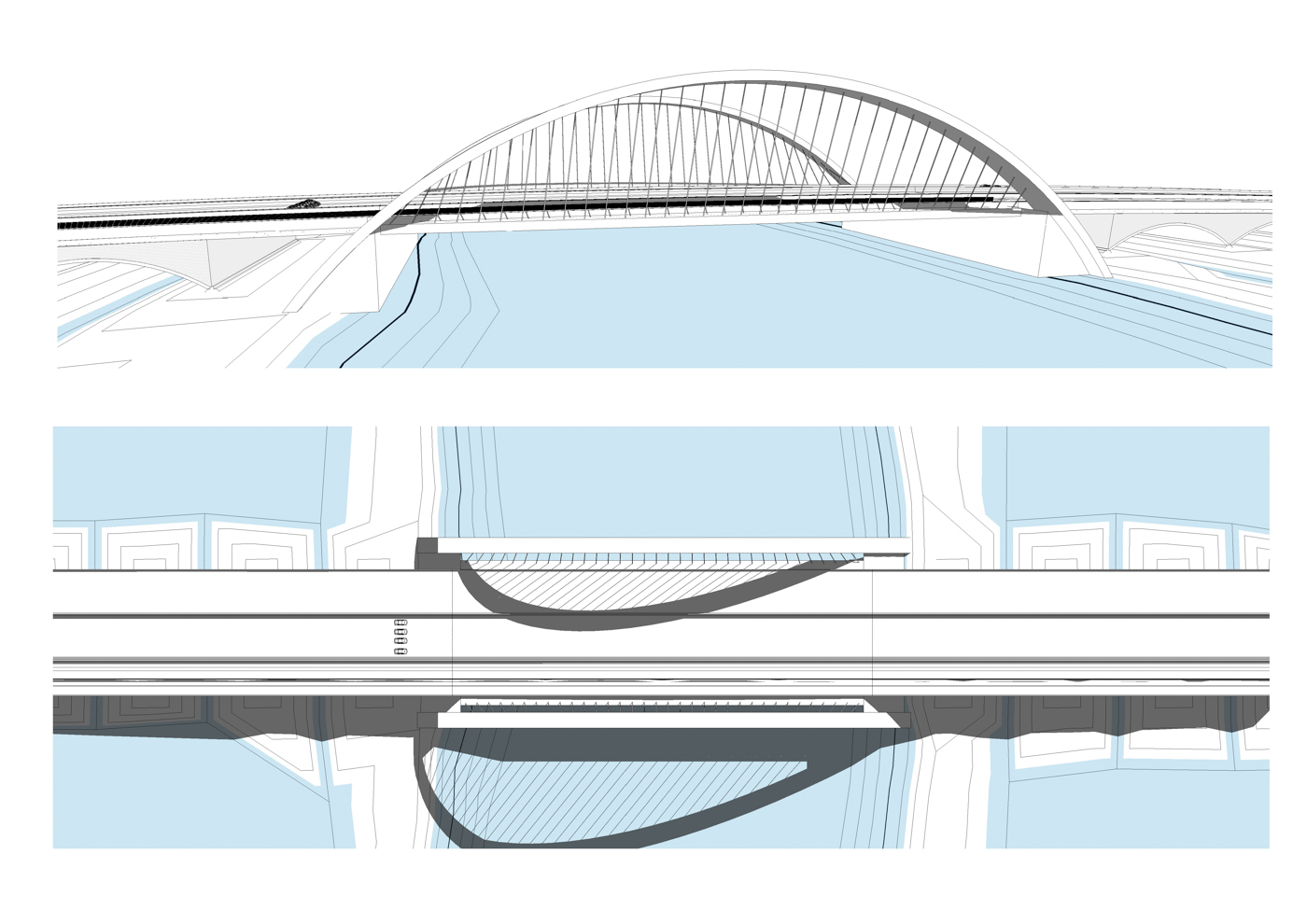 Concept 3: A truss-type bridge consisting of two braced bowstring arches.