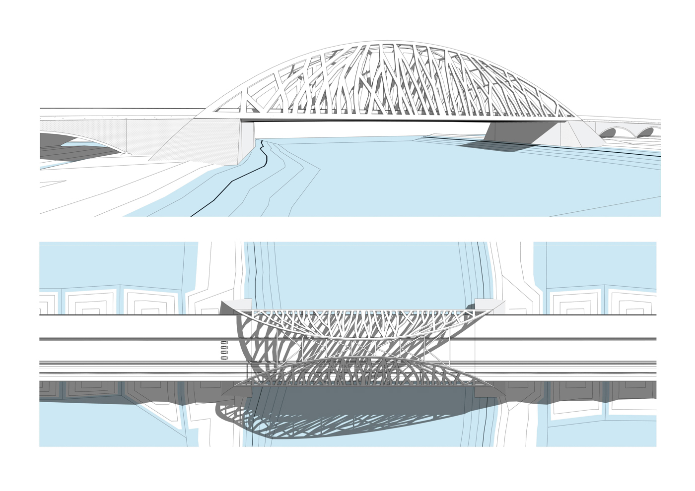 Concept 4: A girder bridge supported by two columns founded at the bottom of the canal.