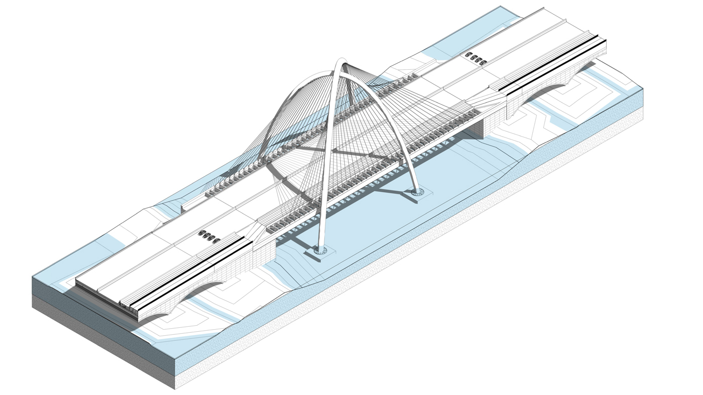 Primary Concept: a double parabolic arch cable-stayed bridge